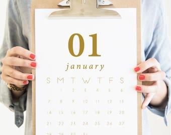Printable Wall Art - 2018 Monthly Calendar Printable