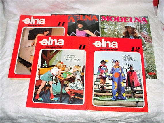 Vintage 70er Jahre Elna Modelna Nähen Zeitschriften Menge 6 W