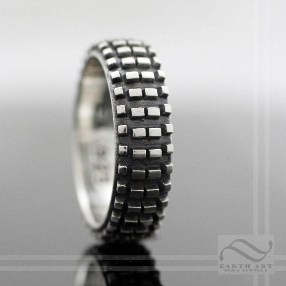 Dirt Bike Tire Tread Ring Sterling Silver