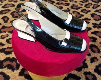 Vintage, 1990's, 1960's, Amour, Black, White, Patent Leather, Leather, Slingback, Shoes, Heels, 7, 7.5