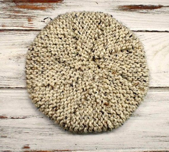 Oatmeal Womens Hat - Meriweather Wedge Beret Hat in Oatmeal Knit Hat - Oatmeal Hat Oatmeal beret Womens Accessories - READY TO SHIP