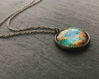 Glass Dome Colourful Galaxy Pendant Statement Necklace