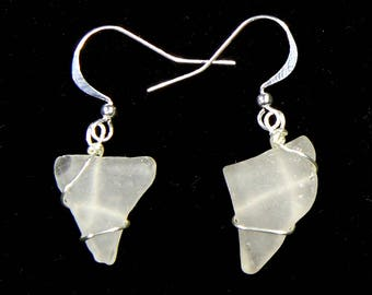 White sea-glass fang earrings with sterling silver wire