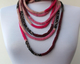 20% OFF SALE - Knit Scarf Necklace, Multi strand necklace,Loop Infinity scarf,Hand Knitted scarflette,in pink,beige,dark red wine,black E119