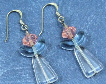 Pink and Blue Glass Angel Earrings on Sterling Silver Ear Wires, Celestial Jewelry