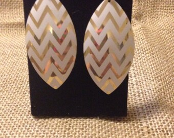 White and Gold Chevron Earrings