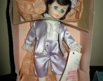 """11"""" Madame Alexander Little Boy Blue Vinyl Doll with tag in box, Vintage Collectible"""