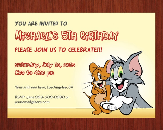 Items similar to Tom Jerry Birthday Invitation Personalized card
