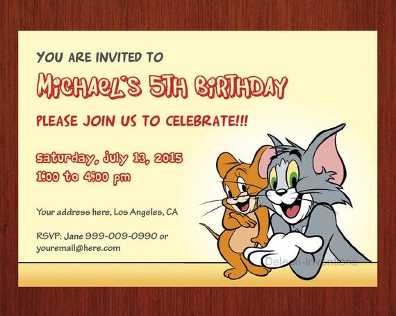 Items Similar To Tom Jerry Birthday Invitation Personalized Card