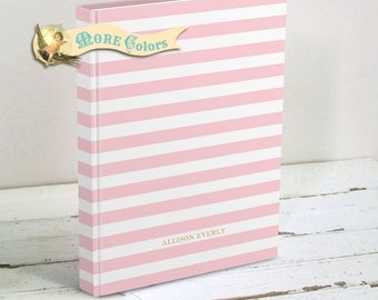 French Stripe Personalized Journal or Sketchbook - Custom Hardcover Blank Book, Diary - Choice of Colors, Two Sizes