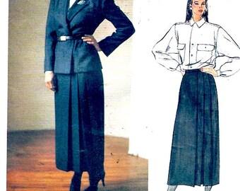 Womens designer suit Vogue 1477 Ralph Lauren jacket skirt Blouse American Designers Vintage sewing pattern Size 12 UNCUT