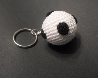 Mounted crocheted soccer ball keychain