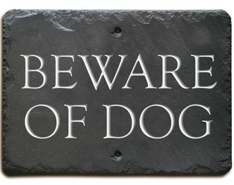 Carved Slate BEWARE of DOG Sign / Plaque /Fence / Stone / Stake #MA-3BW