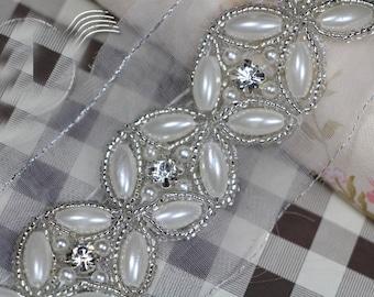 "1 yard 3cm 1.18"" wide pearls Rhinestones beads wedding lace trim ribbon L17K53 free ship"