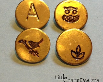 """Hand Stamped Initial Pendant and/or with Etched Pendant - 1/2"""" (12.7mm) 20Ga Brass Pendant"""