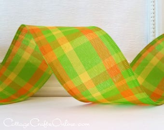 """Wired Ribbon, 2 1/2"""" Plaid, Green, Orange, Yellow - TEN YARD ROLL -  """"Green Apple Chic"""" Spring, Summer, Easter Check Wire Edged Ribbon"""