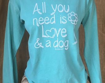 Large Southern prep dog lover inspired Comfort Colors Long Sleeve Shirt