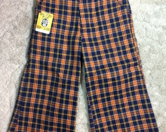 1970s Deadstock Boys size 3 Plaid Flared Pants Hippy Buster Brown
