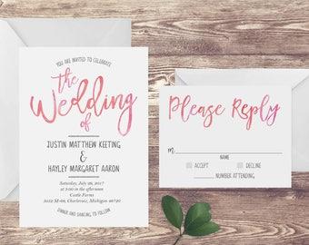 The Blush Watercolor Wedding Invitation and RSVP Set, Blush Pink Wedding Invitation, Watercolor Wedding Invite, Customized Wedding Invite