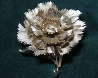 Vintage Crown Trifari Brushed Gold Carnation  Brooch