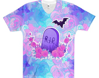 Tombstone Pastel Goth V-Neck Shirt, Creepy Cute Shirt, Pastel Goth Clothing, Kawaii Kowai Harajuku Printed Shirt, Lavender Pastel Goth Shirt