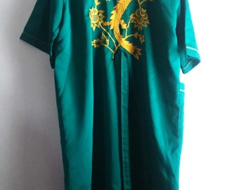Vintage Asian Dragon Embroidered Green Robe / Vintage Robes / Size M/L