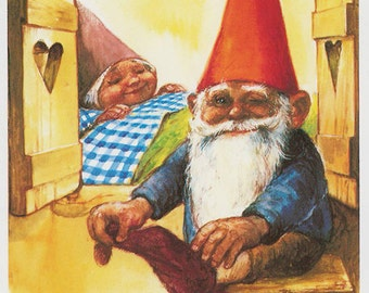 Vintage art print 80s. David the gnome and Lisa going to bed. By Rien Poortvliet.