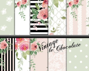 Scrapbook Paper, Digital Rose Paper, Pink Blush Shabby Rose Paper, Romantic Rose Paper, Lace and Rose Paper. No. P188