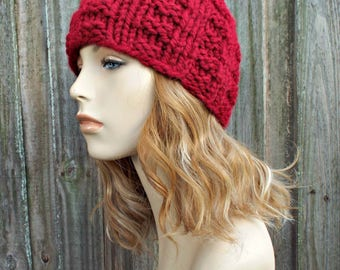Cranberry Red Knit Hat Red Womens Hat Red Mens Hat - Red Hat Red Beanie - Winter Beanie Warm Hat - Waffle Beanie - READY TO SHIP