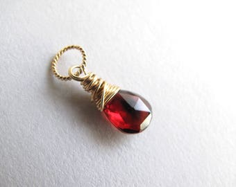 Gold Garnet Charm with Box, January Birthstone, Garnet Pendant, Gemstone Charm, Birthstone Charm (14k gold filled)