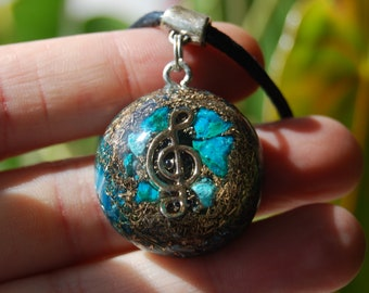 Orgonite® Music Symbol Pendant Chrysocolla with Malachite inclusions