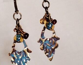Faded Blue Jeans Brass Earrings, Embossed Vintaj  brass earrings, patinated beads, verdigris Vintaj brass earrings, relaxed style.