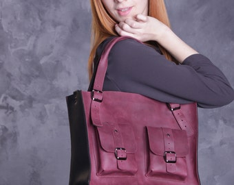 Casual bag, leather tote bags, womens leather bag, burgundy leather bag
