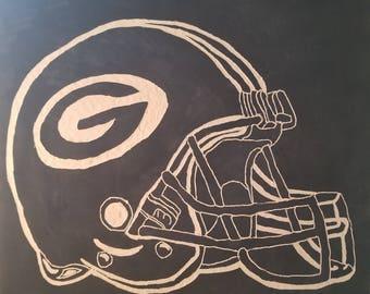 Greenbay Packers Helmet (Wood Carving)