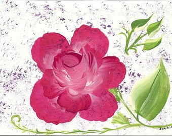 Hand Painted Floral Note Card, All Occasion