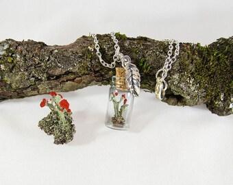 Lichen necklace, british soldier, moss necklace, terrarium necklace, glass vial necklace