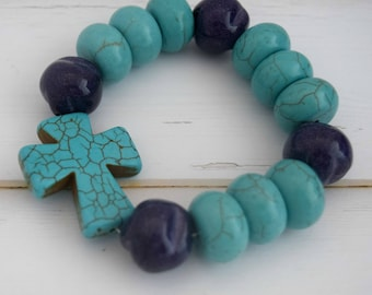 Stretch Women Bracelet | Cross Bracelet Jewelry, Christian Jewelry Bracelet, Colorful Bracelet, Turquoise Bracelet, Beaded Bracelet