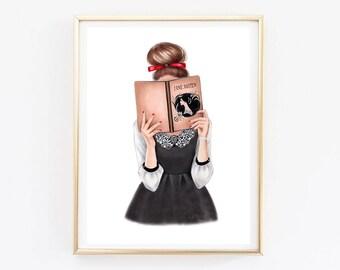 Wall art print Reading girl art Reading illustration Fashion girl art Books lover gift Vintage Illustration Pencil Drawing Fashion Print
