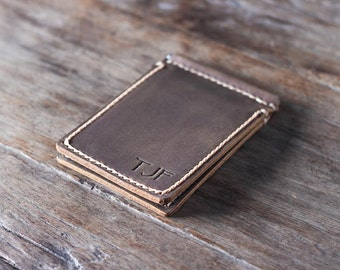 Money Clip Wallet, Leather Money Clip Wallet, Personalized Money Clip Wallet, Minimalist Mens Leather Wallet with Money Clip, JooJoobs #018