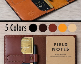 Field Notes Cover Pen Holder / Moleskine Cover - Wickett & Craig Full Grain Leather / Moleskine Wallet / Personalized / Cahier Cover /FLD2