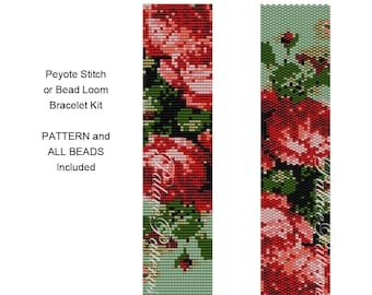 Bracelet Kit Roses are Coral - Peyote Stitch Bracelet KIT P32 - Roses are Coral Bead Loom Bracelet KIT