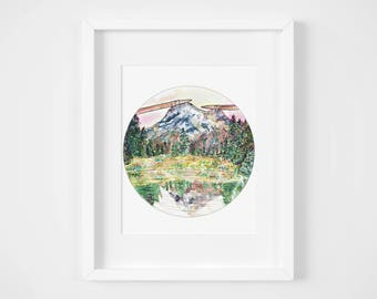 knitted national parks watercolor illustration art print | gifts for knitters, decoration, department of national interiors