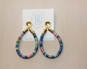 Blue/Gold Multicolored Cord Earrings