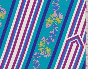 Turquoise Blue Multi Floral Chevron Cotton Lawn, Fabric By The Yard