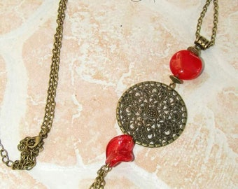 Necklace print necklace bronze and red glass beads