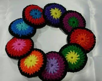 Dish Scrubbies/ DOUBLE LAYER Nylon Dish Scrubber - set of 2 - choose your own color / Crochet Pot Scrubber