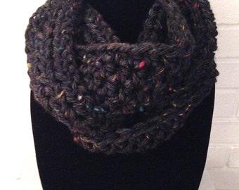 Chunky Infinity Scarf, Black, Tweed Cowl Knit Crochet