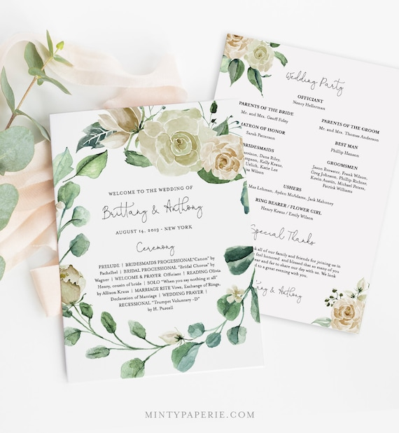Wedding Program Template, Fan or Flat, INSTANT DOWNLOAD, Printable Order of Service, 100% Editable Text, Cream Rose & Greenery #057-413WP