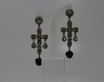 Gold and black cross earrings