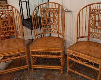 SOLD Thomasville Vintage Bamboo Cane Chairs - Chinoiserie Chairs - Brighton Style Chairs - Chinese Chippendale Chairs Tortoise Bamboo
